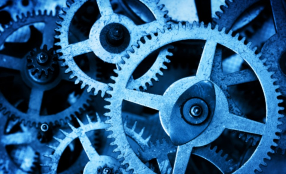 Blue machine cogs