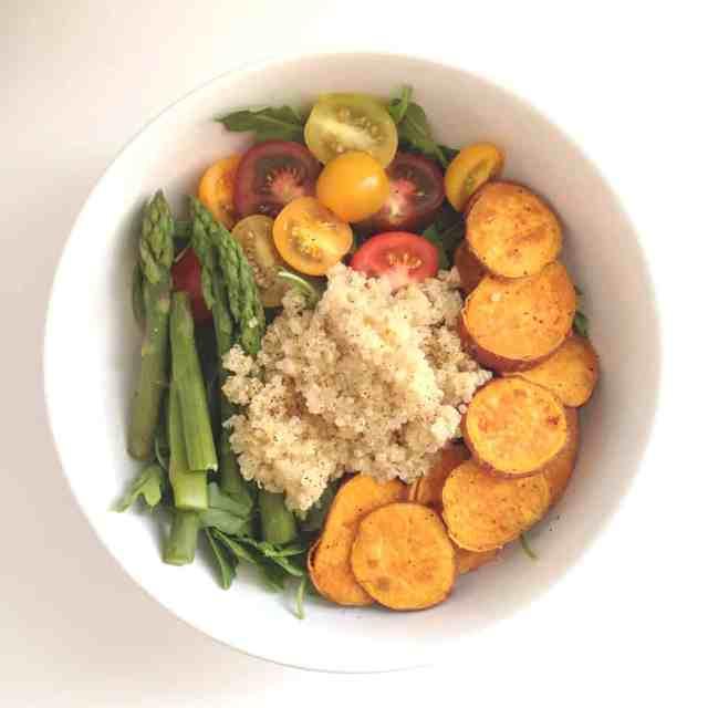 Quinoa Arugula Salad with Roasted Sweet Potato