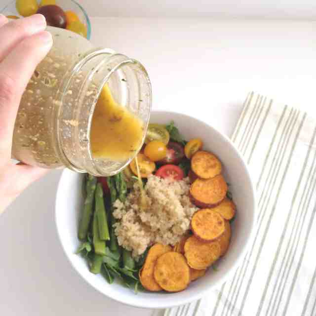 Quinoa Arugula Salad with Roasted Sweet Potato
