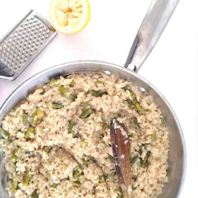 Asparagus and Lemon Brown Rice Risotto // pumpkin & peanut butter