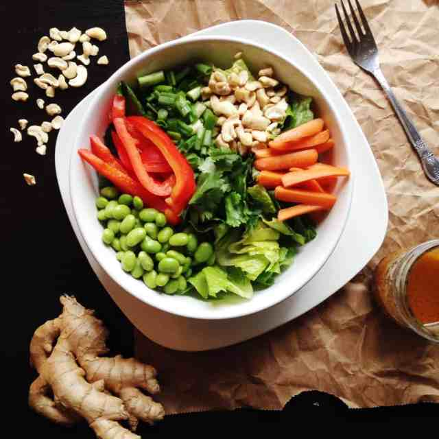 Chopped Asian Salad with Ginger Peanut Dressing