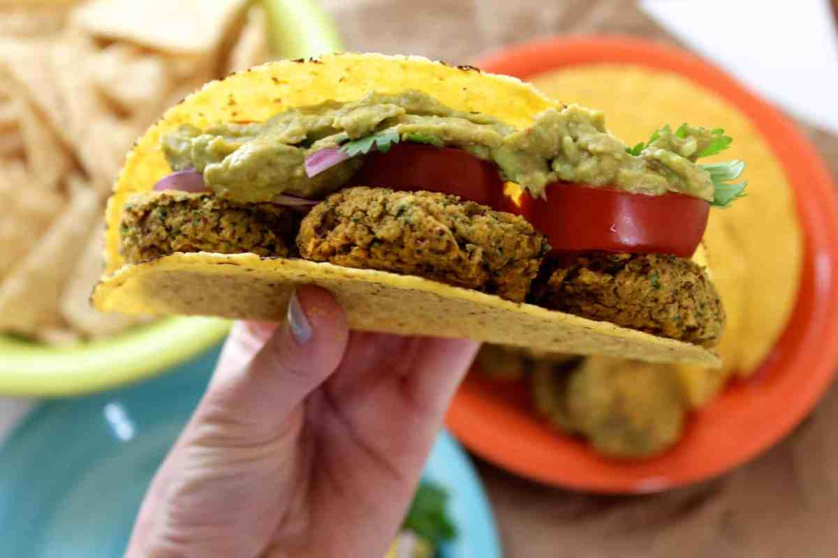 Falafel Tacos with Avocado Sriracha Cream