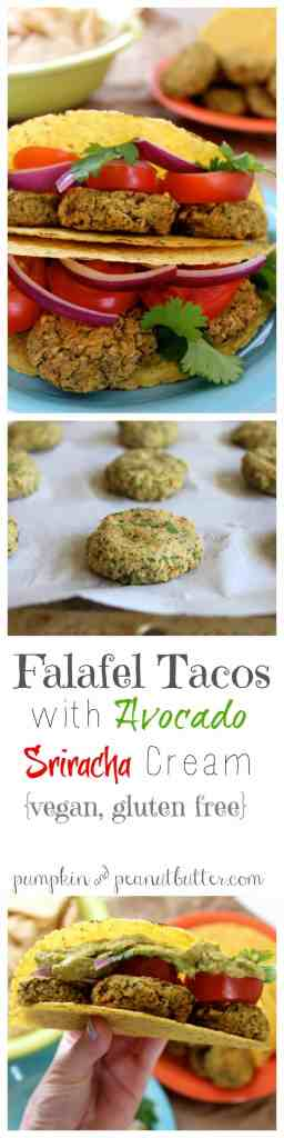 Falafel Tacos with Avocado Sriracha Cream {vegan, gluten free} // pumpkin & peanut butter