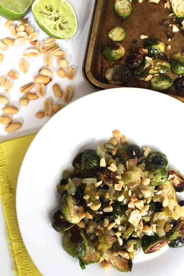 Chili Lime Crispy Brussels Sprouts // pumpkin & peanut butter