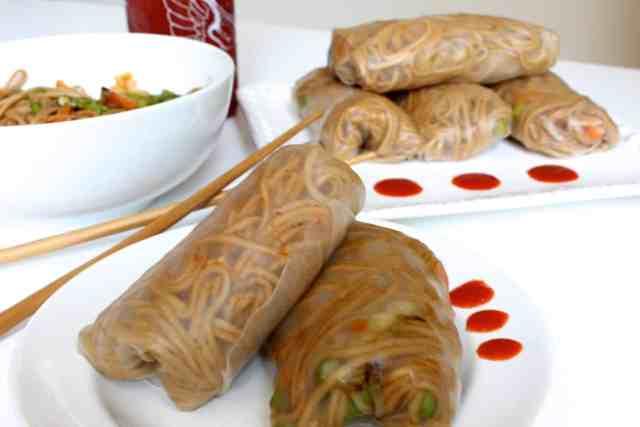Teriyaki Soba Noodle Spring Rolls // pumpkin & peanut butter