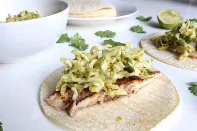 Chili-Dusted Fish Tacos with Avocado Slaw // pumpkin & peanut butter