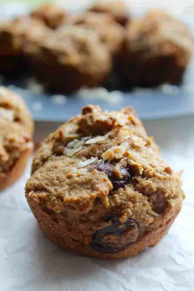 Vegan Coconut Chocolate Chip Muffins // pumpkin and peanut butter