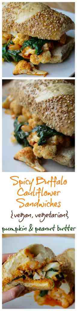 Spicy Buffalo Cauliflower Sandwich // pumpkin & peanut butter