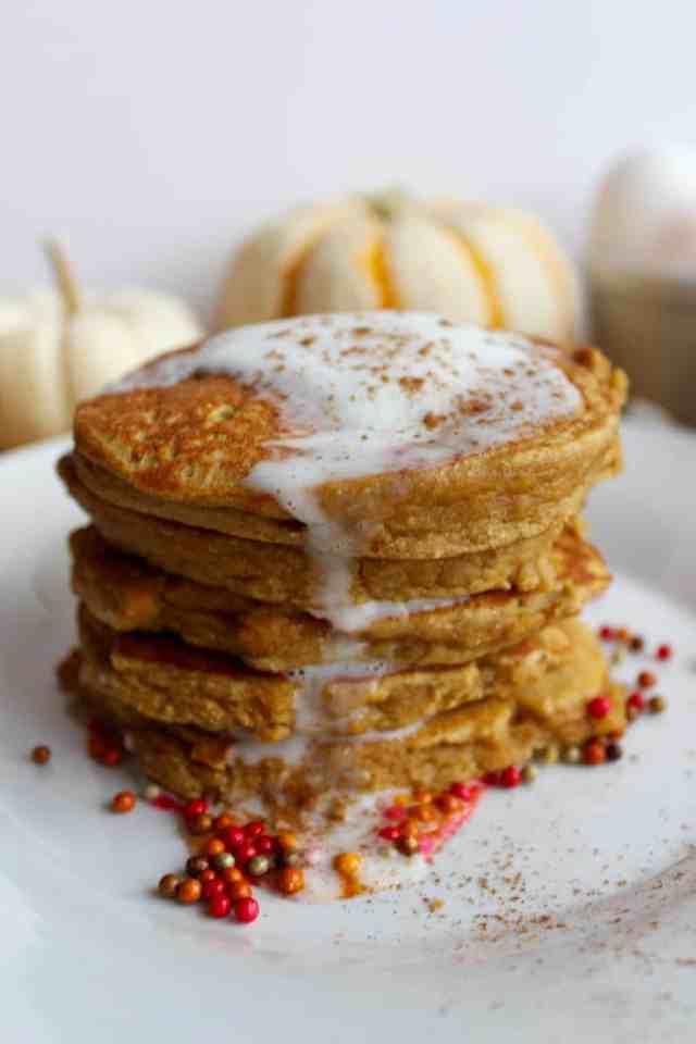 Pumpkin Peanut Butter Coconut Flour Pancakes // pumpkin & peanut butter