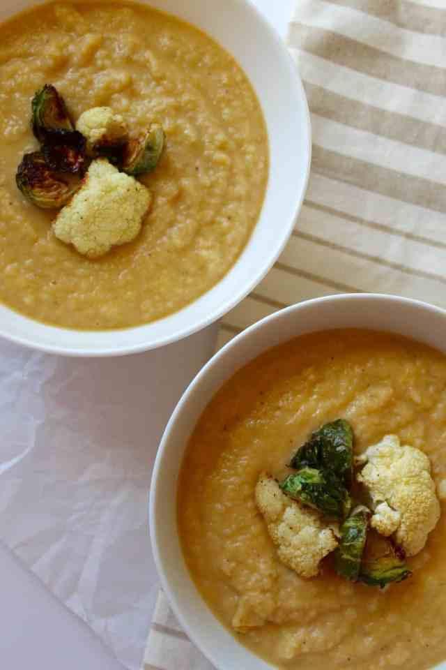 Cauliflower Leek Soup with Crispy Brussels Sprouts // pumpkin & peanut butter