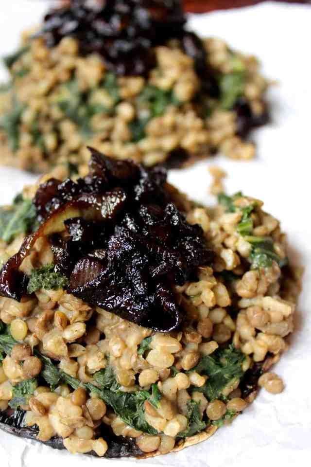 Lentil and Rice Stuffed Portobellos with Caramelized Onions // pumpkin & peanut butter