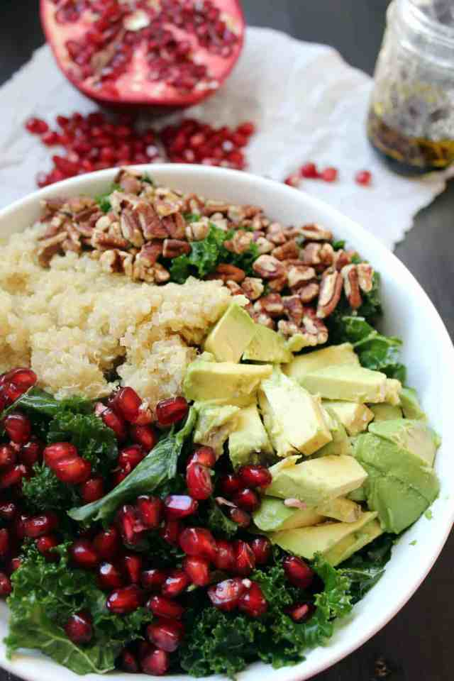 Pomegranate Quinoa Kale Salad // pumpkin & peanut butter