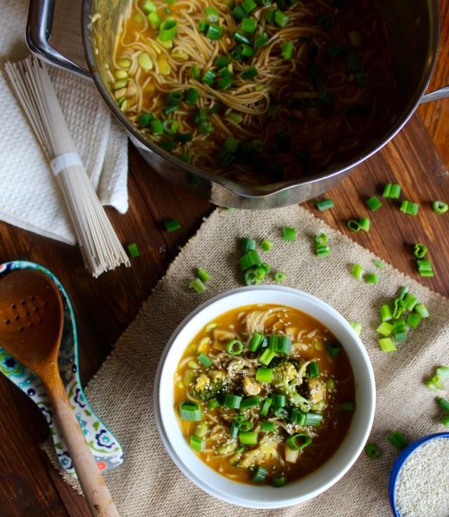 Green Goddess Miso Noodle Soup {vegan, gluten free} // pumpkin & peanut butter