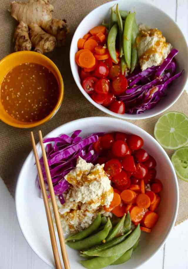 Rainbow Veggie Bowl with Ginger Miso Dressing {vegan, gluten free} // pumpkin & peanut butter
