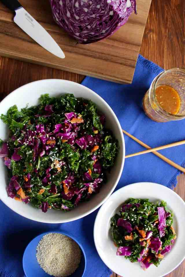 Asian Kale Slaw with Miso Ginger Dressing {vegan, gluten free} // pumpkin & peanut butter