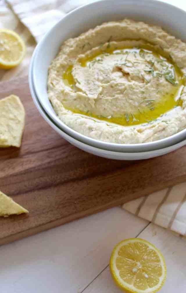 Lemon Rosemary Hummus // pumpkin & peanut butter