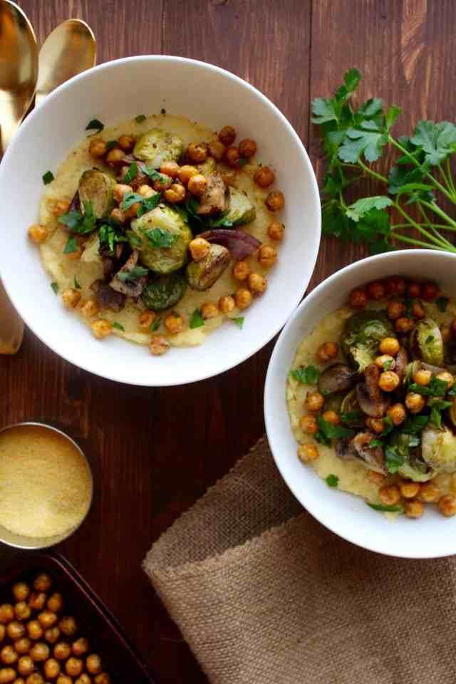 Creamy Polenta with Balsamic Roasted Vegetables & Garlic Chickpeas // pumpkin & peanut butter