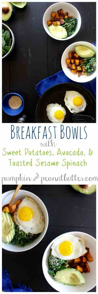 Breakfast Bowl with Sweet Potatoes, Toasted Sesame Spinach, & Avocado // pumpkin & peanut butter