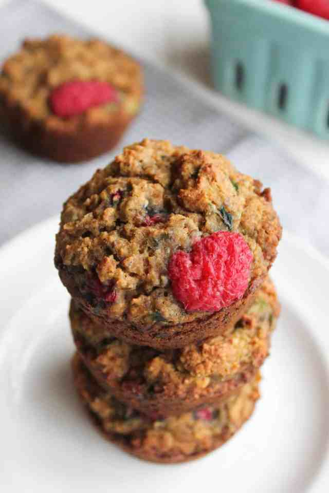 Raspberry Zucchini Gluten Free Muffins {vegan} // pumpkin & peanut butter