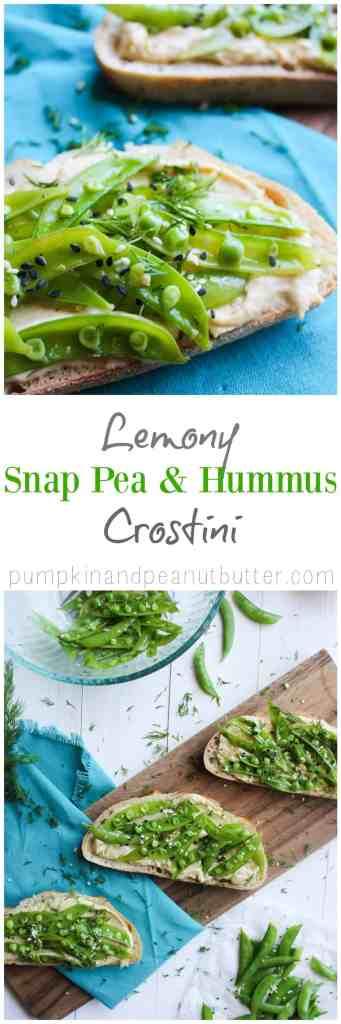 Lemony Snap Pea & Hummus Crostini {vegan} // pumpkinandpeanutbutter.com
