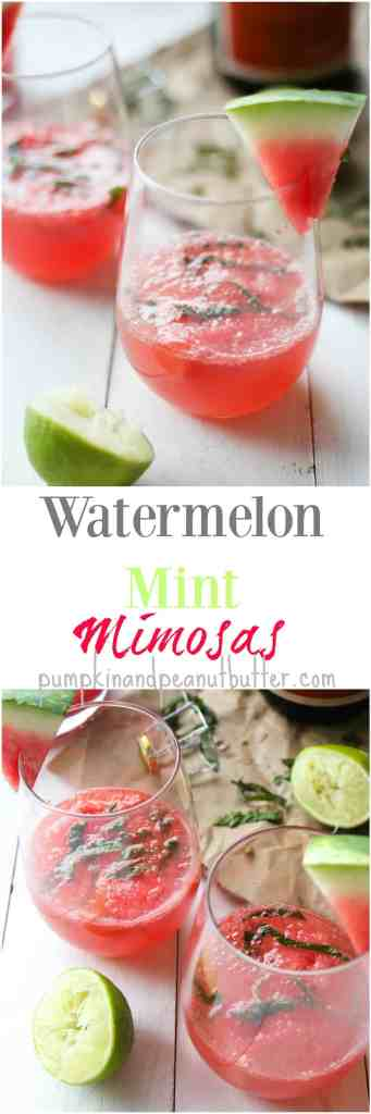 Watermelon Mint Mimosas // simple, fresh mimosas made with fresh watermelon juice, lime, mint, and of course, champagne! // pumpkinandpeanutbutter.com