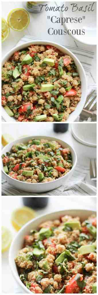 "Tomato Basil ""Caprese"" Couscous {vegan} // pumpkinandpeanutbutter.com"