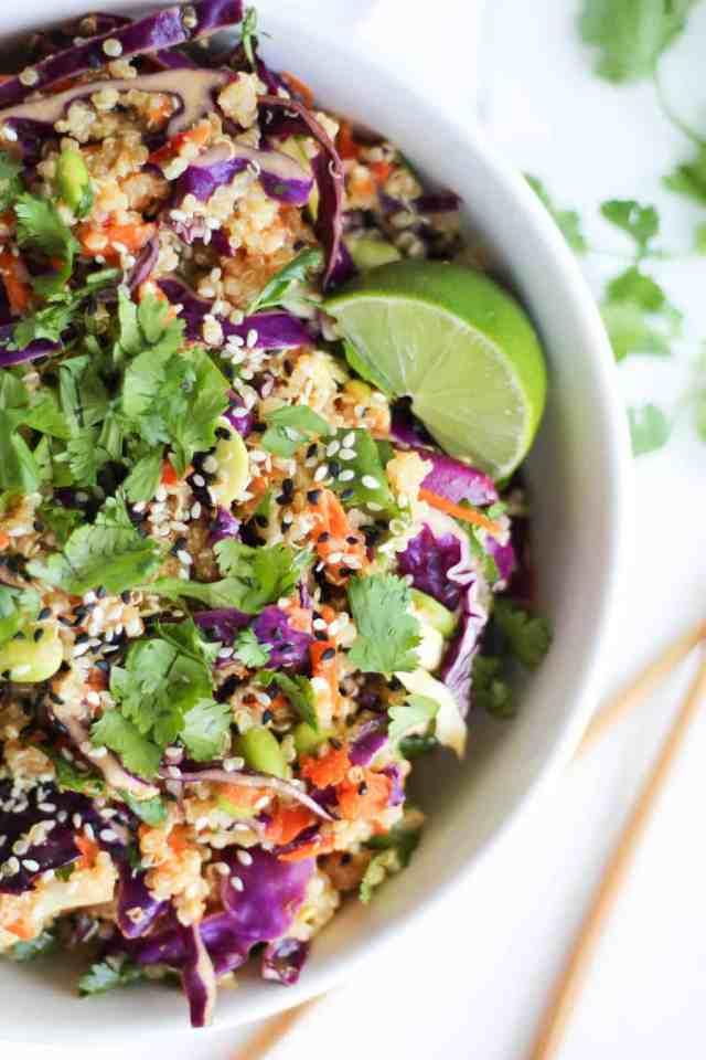Asian Quinoa Salad with Sesame Miso Dressing {vegan, gluten free} // pumpkinandpeanutbutter.com