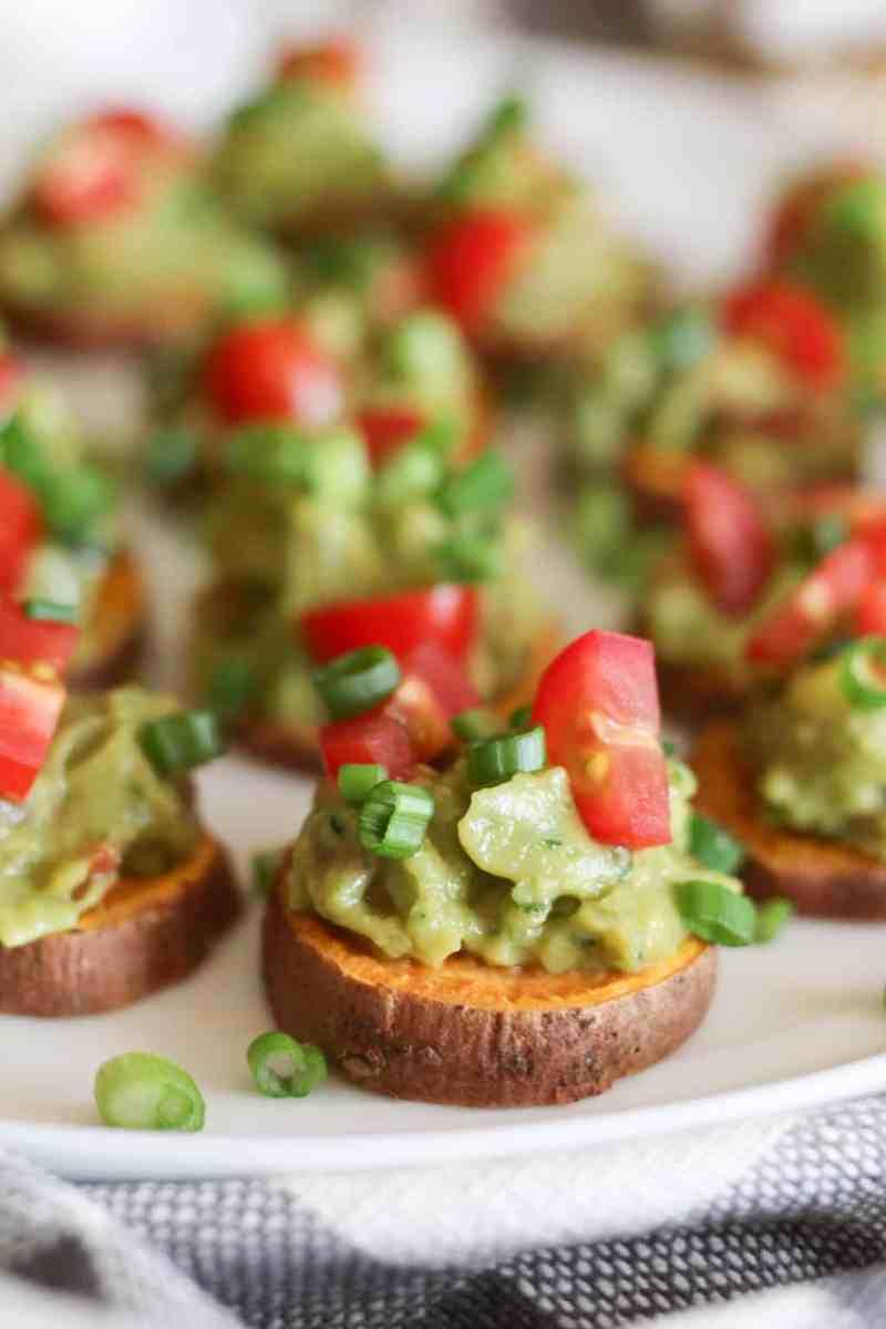 Roasted Sweet Potato Bites with Guacamole