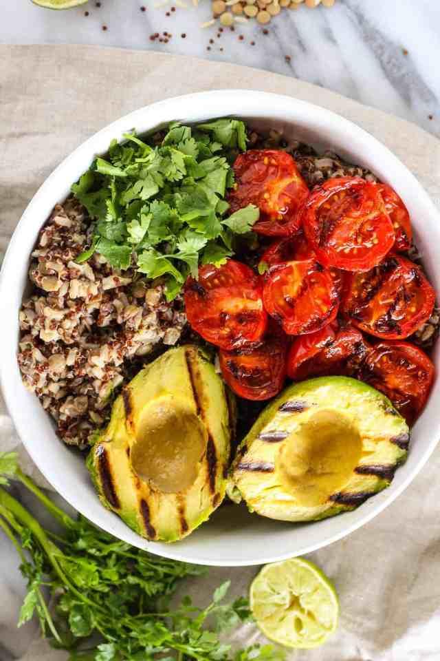 Grilled Avocado + Tomato Grain Salad {vegan, gluten free}