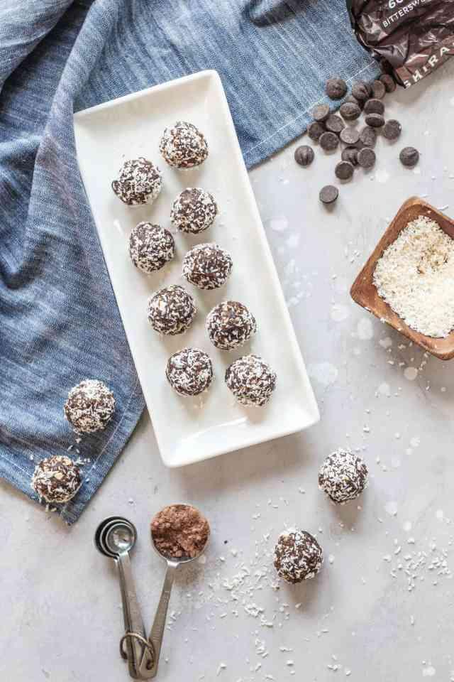 Dark Chocolate Coconut Energy Balls {dairy free, gluten free} | pumpkin & peanut butter