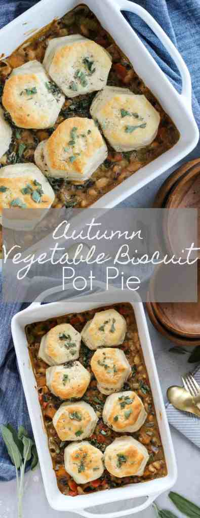 Autumn Vegetable Biscuit Pot Pie | pumpkin & peanut butter #ad