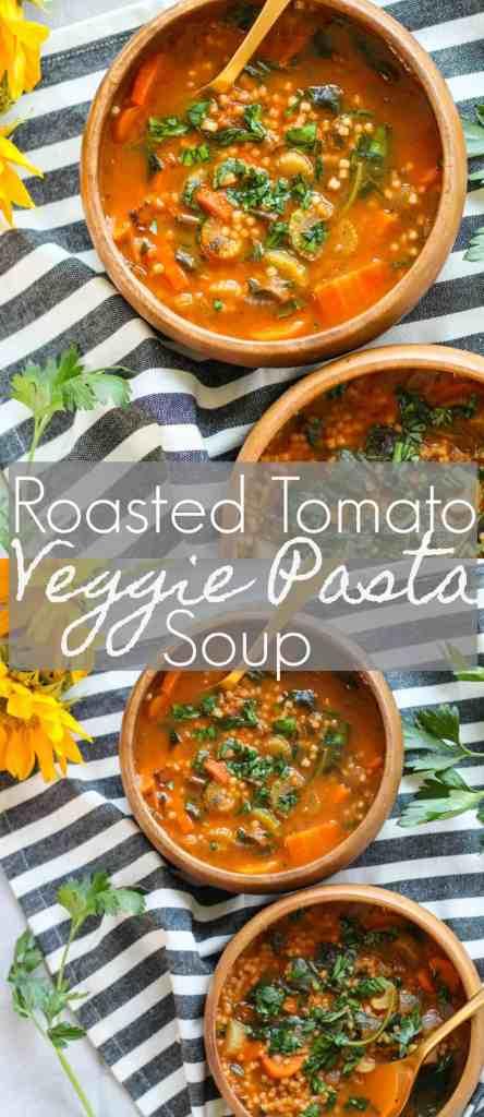 Roasted Tomato Veggie Pasta Soup | pumpkin & peanut butter