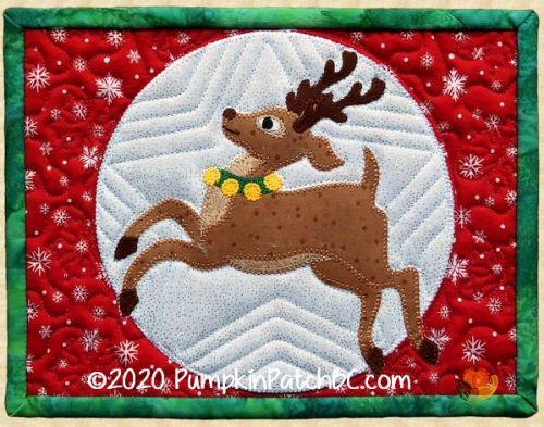 PPP-058 Reindeer Romp Quilted Mug Rug