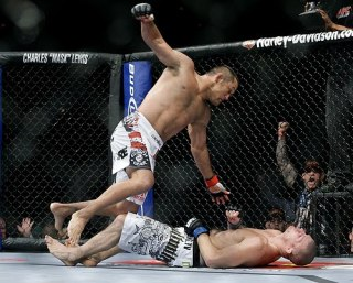 Dan Henderson, top, knocks out Michael Bisping during UFC 100 at the Mandalay Bay Events Center on July 11, 2009 in Las Vegas, Nevada. Francis Specker