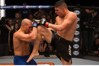 COCONUT CREEK, FL - FEBRUARY 27: (R-L) Vicente Luque knees Hayder Hassan during the filming of The Ultimate Fighter: American Top Team vs Blackzilians on February 27, 2015 in Coconut Creek, Florida. (Photo by Chris Trotman/Zuffa LLC/Zuffa LLC via Getty Images) *** Local Caption ***
