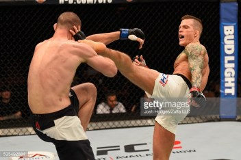 in their lightweight bout during the UFC Fight Night event inside the Mandalay Bay Events Center on May 29, 2016 in Las Vegas, Nevada.