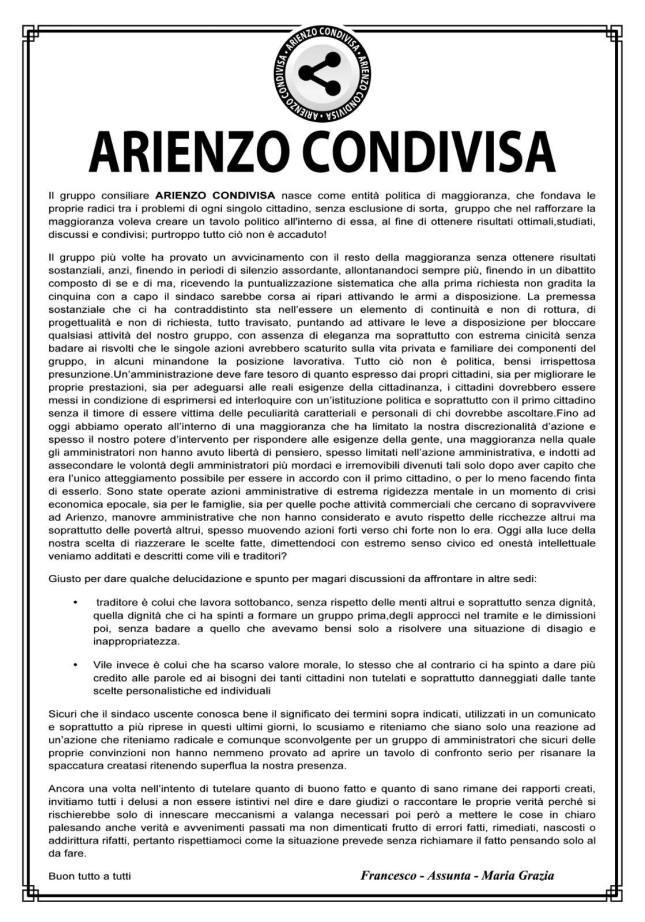 MANIFESTO ARIENZO CONDIVISA
