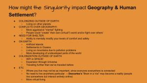 Lesson Plan - How Technological Changes in the Singularity might impact Geography and Human Settlement Patterns