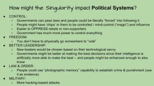 Lesson Plan - How Technological Changes in the Singularity might impact Political Systems