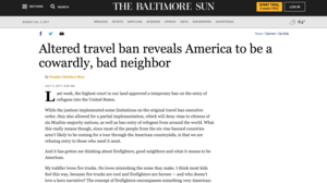 Baltimore Sun - Altered Travel Ban Reveals America to be a Cowardly, Bad Neighbor (Online Edition)