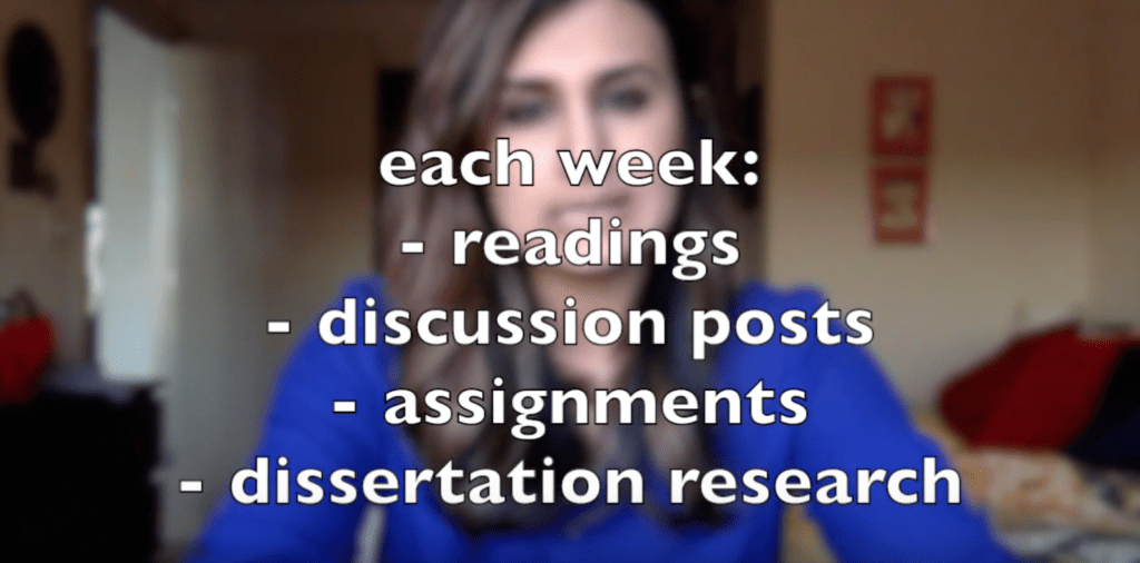 My weekly tasks included readings, discussion posts, assignments, and dissertation research.