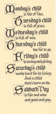 Wednesdays child rhyme