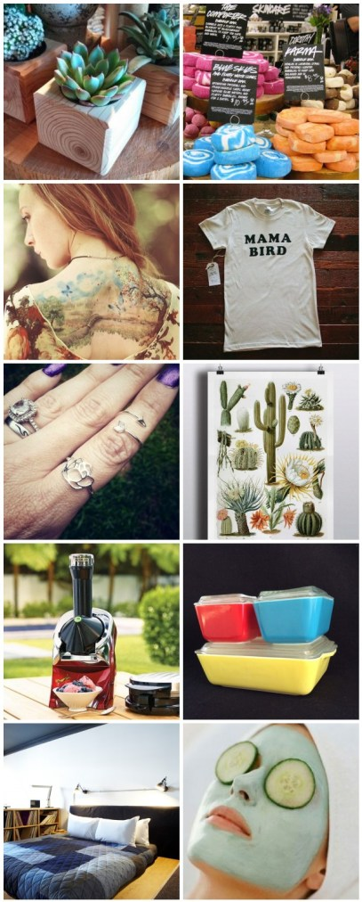 Some gifts our Punky Moms want this Mother's Day. An Honest Mother's Day Gift Ideas Guide. What us moms really want for our special day. Tattoos, vintage Pyrex, Lush and a few more goodies.