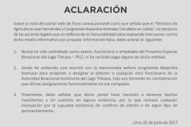 Ministro de Agricultura José Hernandez Calderón amenaza con acciones legales contra Punonet