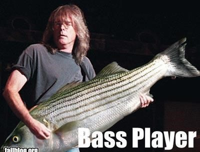 Bass player, playing fish, fish pun, bass pun