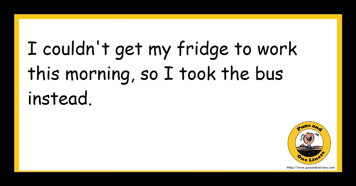 I couldn't get my fridge to work this morning, so I took the bus instead.