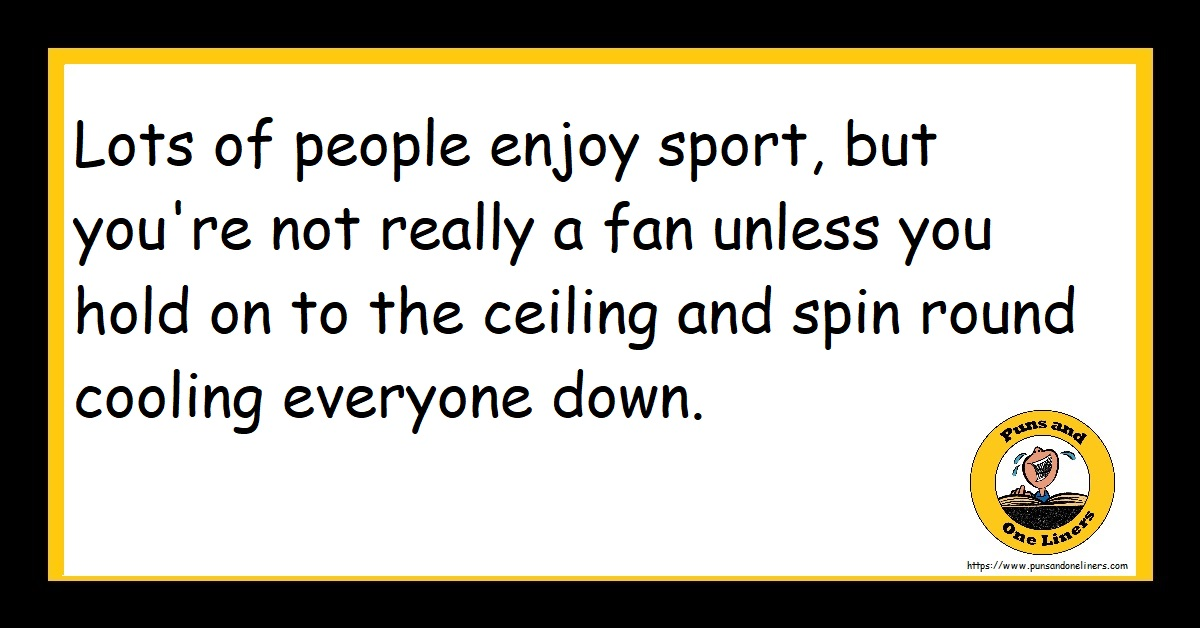 Lots of people enjoy sport, but you're not really a fan unless you hold on to the ceiling and spin round cooling everyone down.