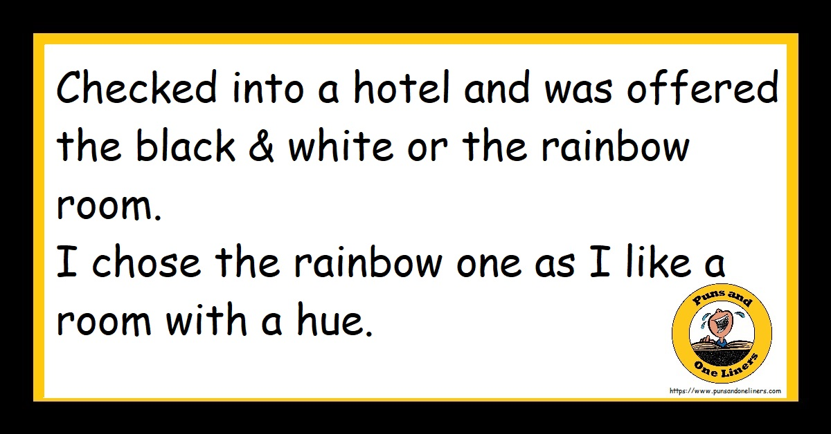 a hotel and was offered the black and white or the rainbow room. I chose the rainbow one as I like a room with a hue.