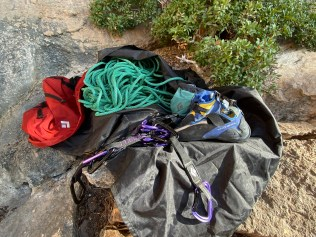 Drove HV Mad Rock Shoe, Black Diamond Quickdraws, Sterling Rope, BD rope bag and BD chalk bag