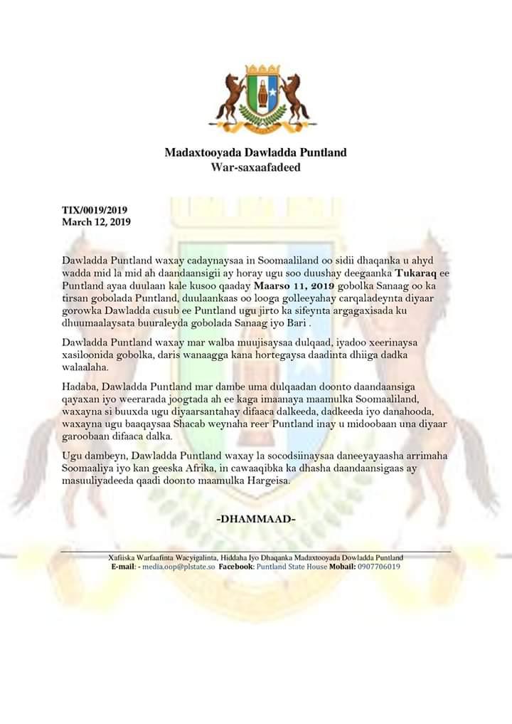 Puntland oo war-saxaafadeed ka soo saartay duullanka Somaliland ee gobolka Sanaag